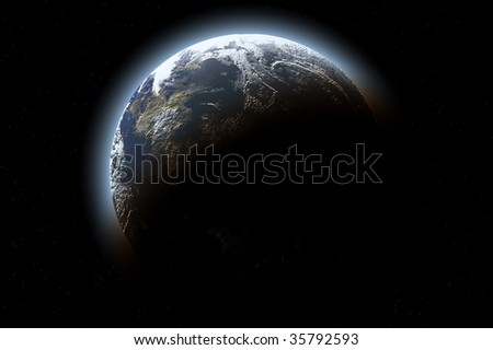 one planet in deep space10 - stock photo