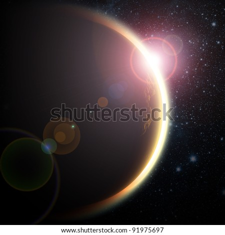 One planet in deep space. Black space with white stars.Sunset with lens flare.