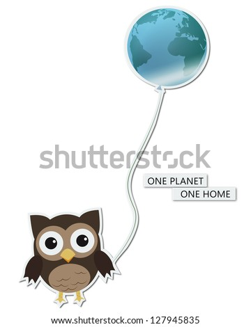 One planet one home/Fun illustration/sticker of owl holding earth-balloon, for Earth day - stock photo