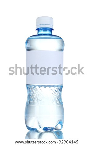 One plastic bottle of water isolated on white - stock photo