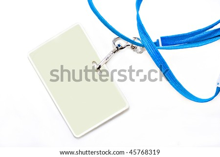One plastic name tag on a blue lanyard.  Background is white with copy space on name tag as well as on the background. - stock photo
