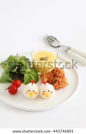 One Plate Healthy Meal with Chicken Shaped Rice ball