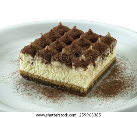 one portion of Tiramisu, famous italian dessert with coffee, cocoa and mascarpone cheese