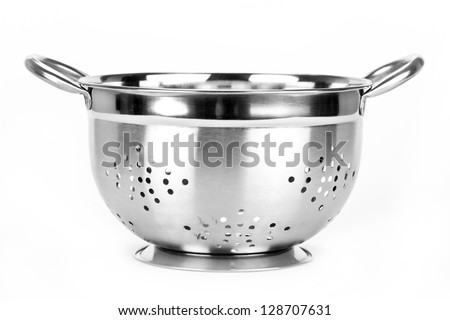 One pot isolated on white background. Black and white photo.