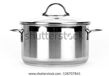 One pot isolated on white background. Black and white photo. - stock photo