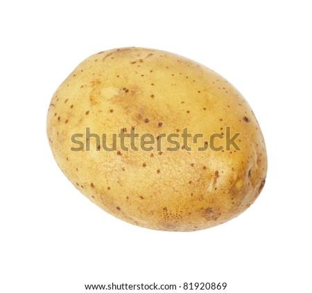 One potato isolated, object on white background - stock photo