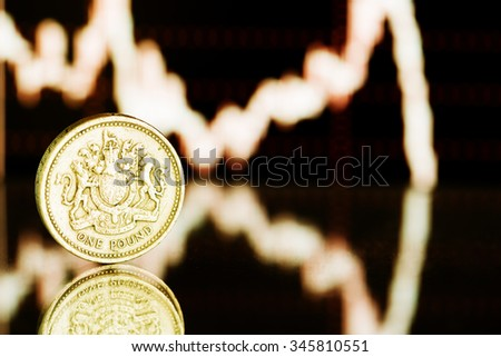 One pound coin. Fluctuating graph on black background (shallow DOF)