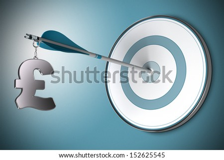 One Pound symbol fixed on an arrow. Conceptual image suitable for financial investment in British Pounds, asset management or financial advisory. - stock photo