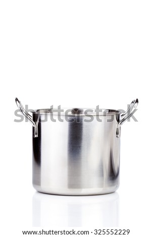 one professional metal pot cooker for boiling isolated
