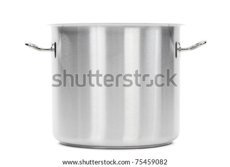 one professional metal pot cooker for boiling isolated - stock photo