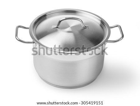 one professional metal pot cooker for boiling isolated with clipping path - stock photo