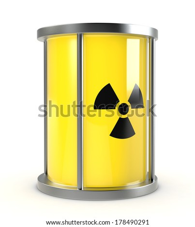 one protective capsule for  a radioactive source, concept of nuclear energy (3d render) - stock photo