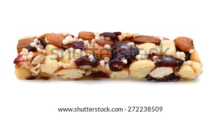 one protein bar on white background  - stock photo