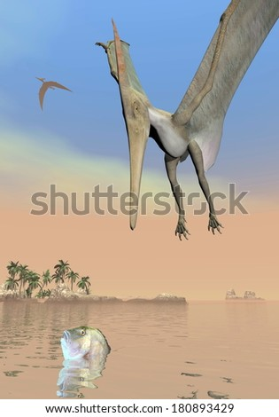 One pteranodon dinosaur fishing while flying upon landscape with hills, palm trees and water in cloudy sunset sky - stock photo