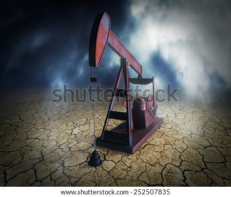 one pumpjack on arid ground, concept of shortage of oil resources (3d render)  - stock photo