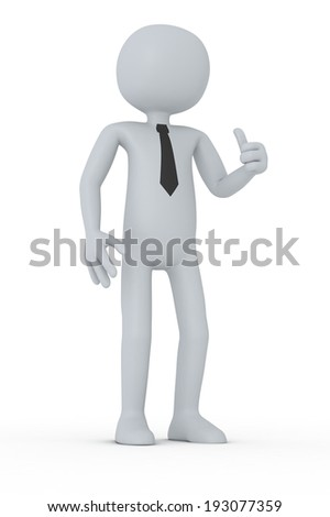 one puppet with a cravat and the hand that shows the thumb up (3d render)