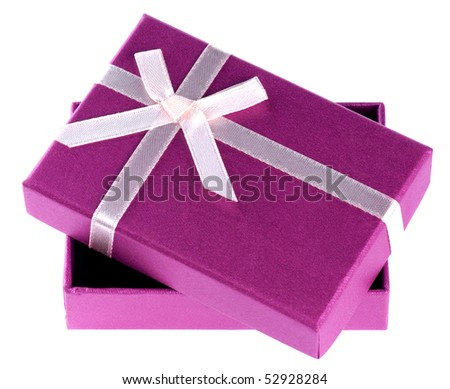 One purple gift box with white ribbon and bow isolated