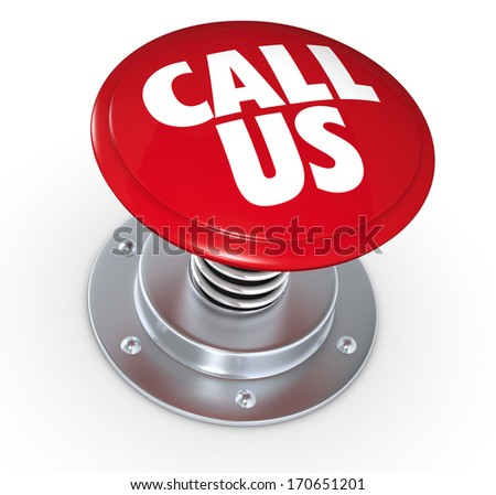 one push button with the text: call us (3d render)