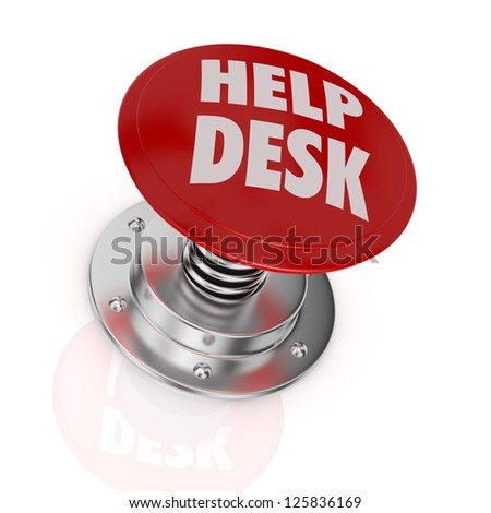 one push-button with the text: help desk (3d render)