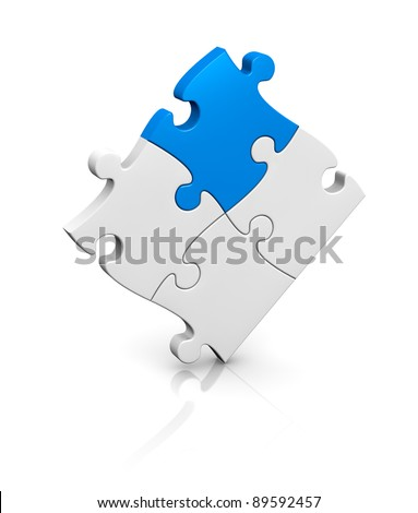 one puzzle completed with a piece of different color (3d render) - stock photo
