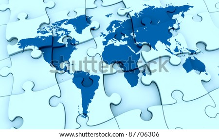 One puzzle made world map pieces stock illustration 87706306 one puzzle made with the world map the pieces are not all in the right gumiabroncs Images