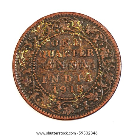 One quarter anna Indian Coin 1916 - stock photo