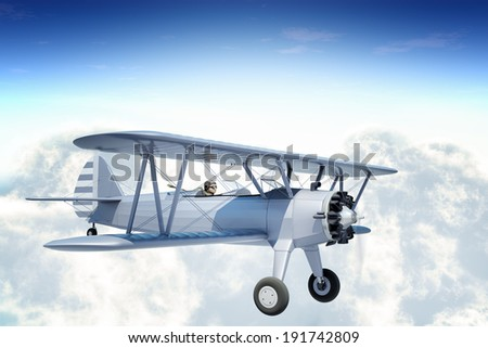 One-quarter front right side view of a biplane - stock photo