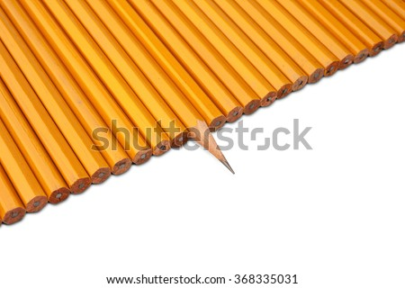 One really sharp pencil and a lot of others - stock photo