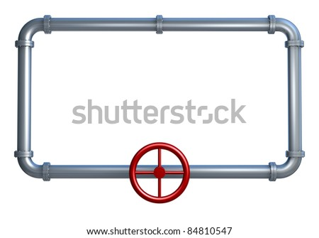 one rectangle made with pipes, with empty space on it for customization (3d render) - stock photo