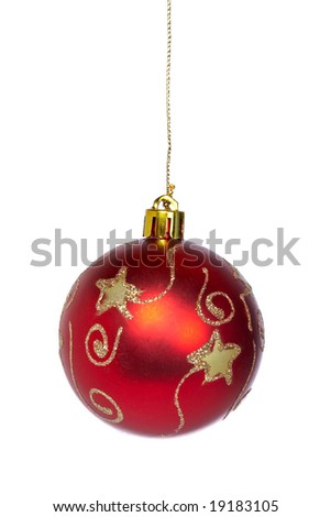 One red and gold Christmas ball isolated on a white background. Shallow depth of field