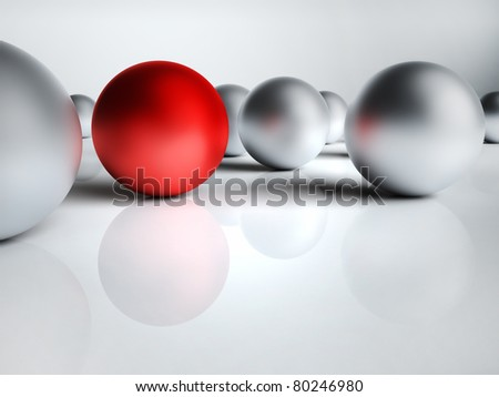 One red and several silver bullets, conceptual 3d render - stock photo