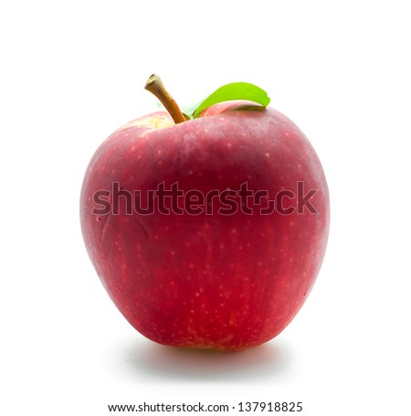 One red apple in closeup