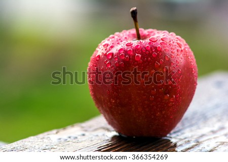 One red apple on wooden table after a rain. Selective focus - stock photo