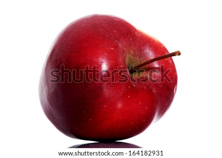 One red apple over white background. - stock photo