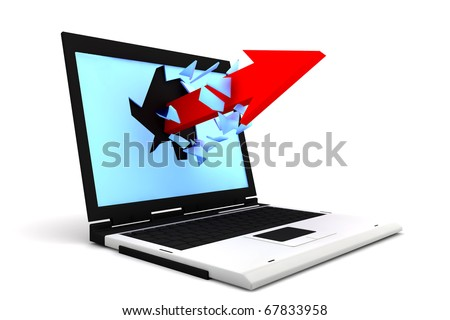 One red arrows exit by a monitor of a laptop