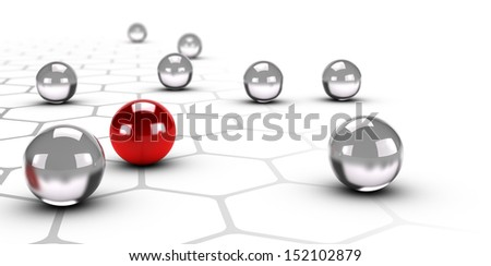 One red ball over a grey network with honeycomb structure design, White background, networking and difference concept - stock photo