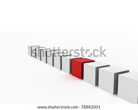 one red box standing out of the crowd - stock photo
