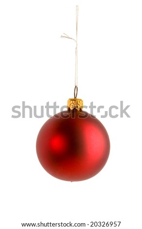 One red christmas ball on white ground - stock photo