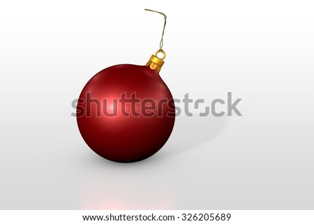 one red christmas ball over white background