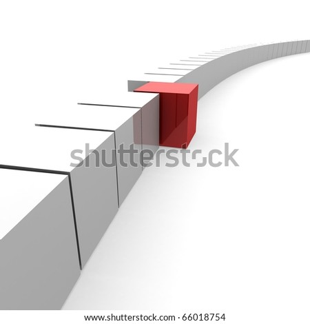 one red cube emerging from a common chain of white cubes. 3D computer rendering - stock photo