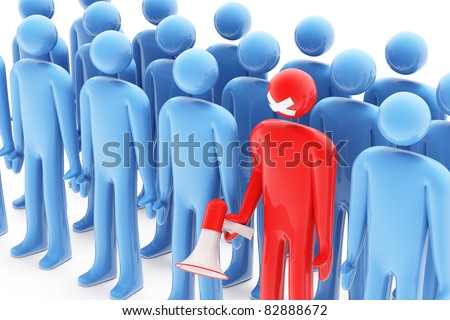 One red figure with bullhorn and sealed mouth between group of blue figures - stock photo