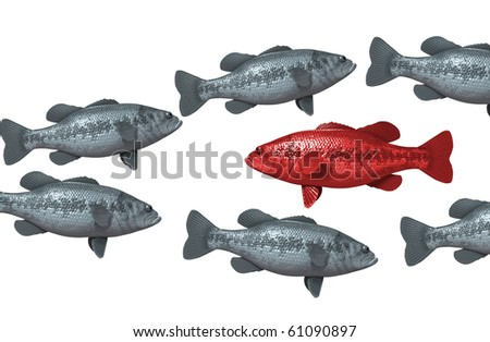 One red fish swims against the rest - stock photo