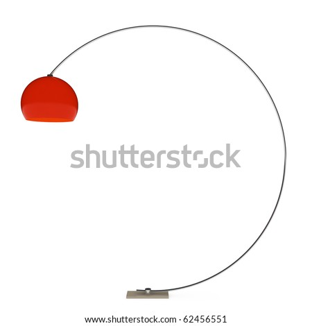 one red floor lamp on white background. 3D illustration - stock photo
