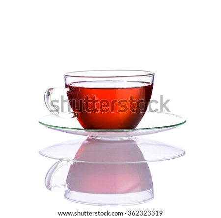 One Red fruit tea cup isolated on white background with reflection