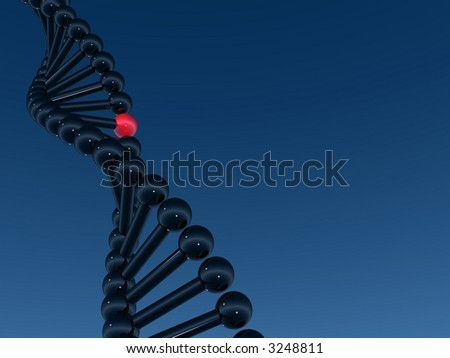 One red gen in DNA structure - stock photo