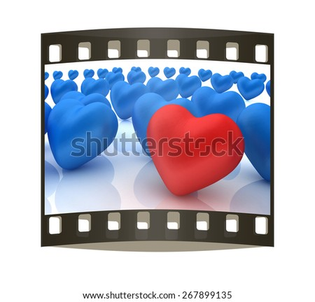 One red heart standing out in crowd. The film strip - stock photo