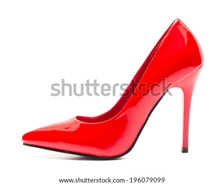 One red high heel shoe isolated on white background - stock photo