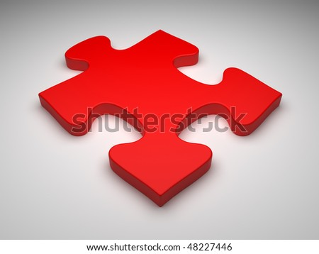 One red jigsaw puzzle - stock photo