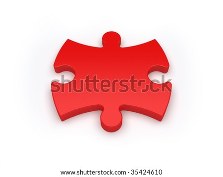 one red jigsaw puzzle piece isolated in white - more variations in my portfolio - stock photo