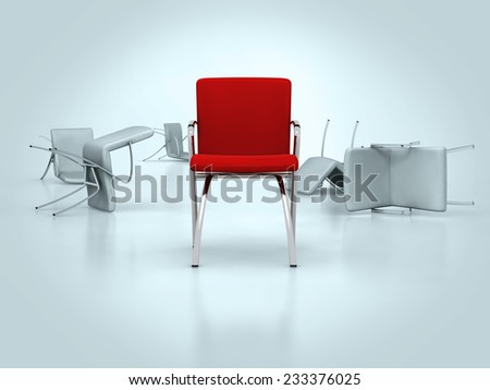 one red leather chair placed observably in a group of gray chairs.